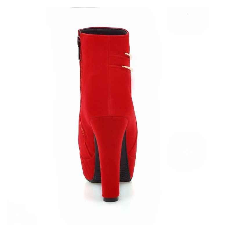 סופר גבוהה העקב נוחות פלטפורמת מתכת עיצוב סקסי שלב להראות נשים קרסול מגפיים אדום שחור קלאסי חורף נקבה הנעלה נעליים