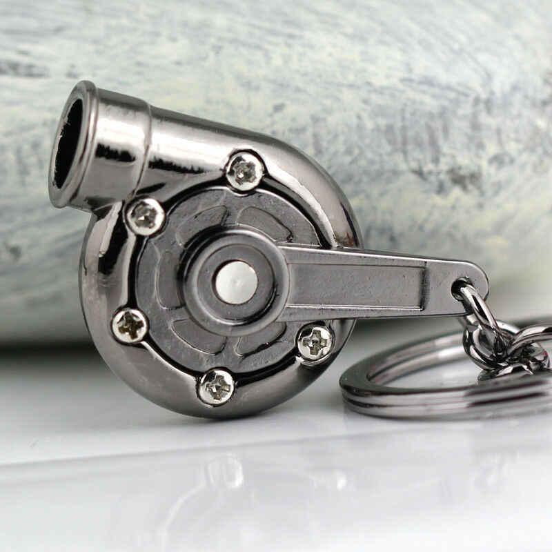 新しいユニバーサル車家クールガンメタルトスピニングターボキーホルダーターボチャージャーキーリングクリエイティブデザイン自動スタイリッシュなアクセサリー