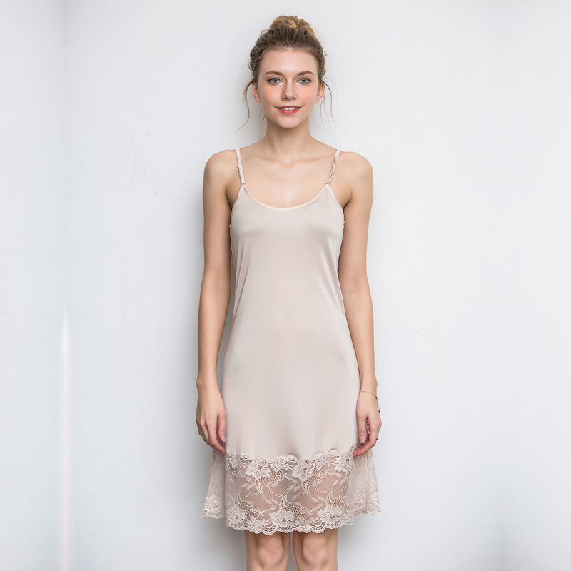 Mulberry Silk Thin Knitted Real Silk Pajamas Strapped Dress Lace Base Skirt WOMEN'S Nightgown Dress Summer