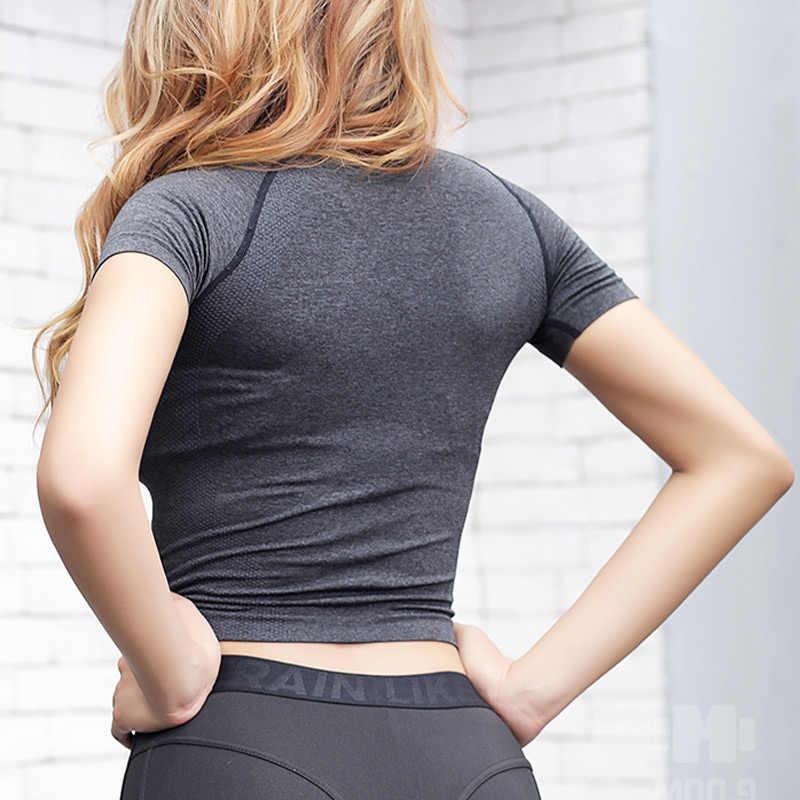 المرأة سلس الرياضة المحاصيل الأعلى اليوغا تي شيرت تشغيل مثير اللياقة البدنية المحاصيل الأعلى ملابس رياضية الصالة الرياضية تجريب الملابس