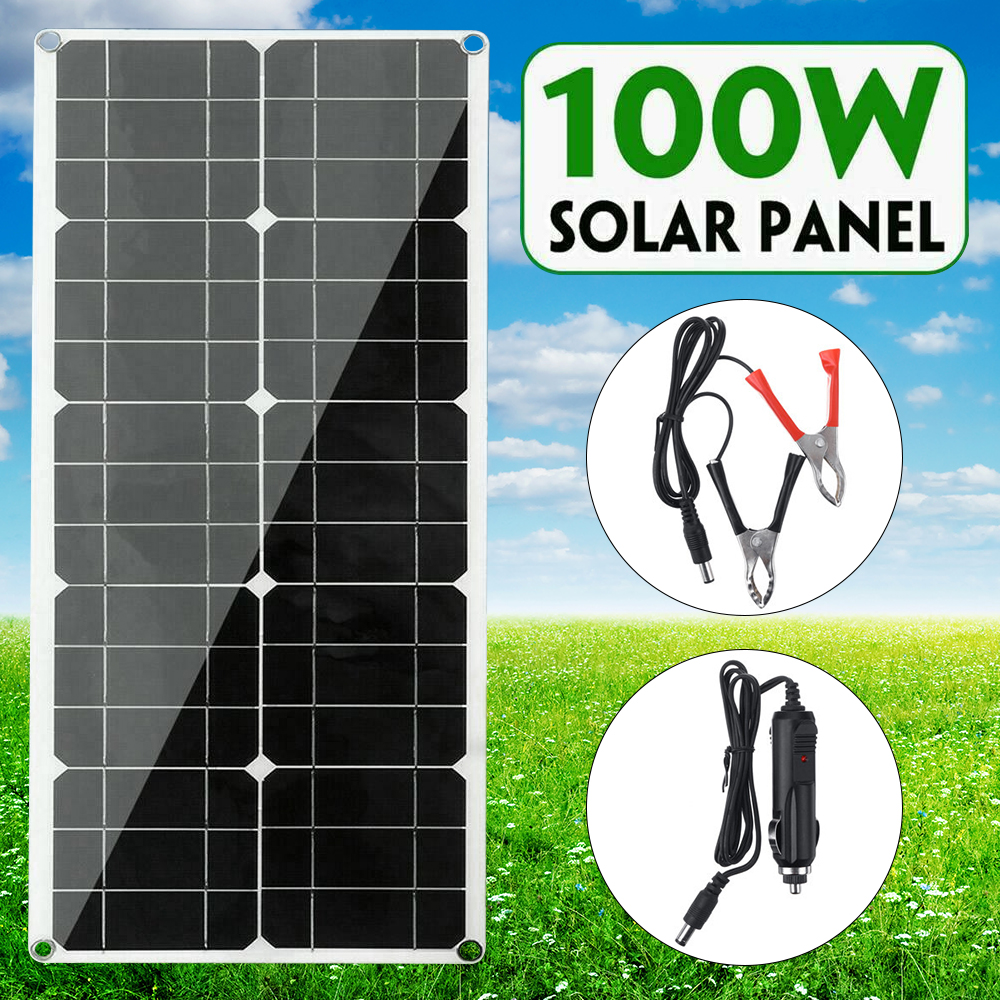 <font><b>Solar</b></font> <font><b>Panel</b></font> <font><b>100W</b></font> <font><b>12V</b></font> 24V Flexible <font><b>Solar</b></font> Battery Charger Waterproof <font><b>Solar</b></font> Cell Charger For Car/Boat/ Home Camping Hiking Outdoor image