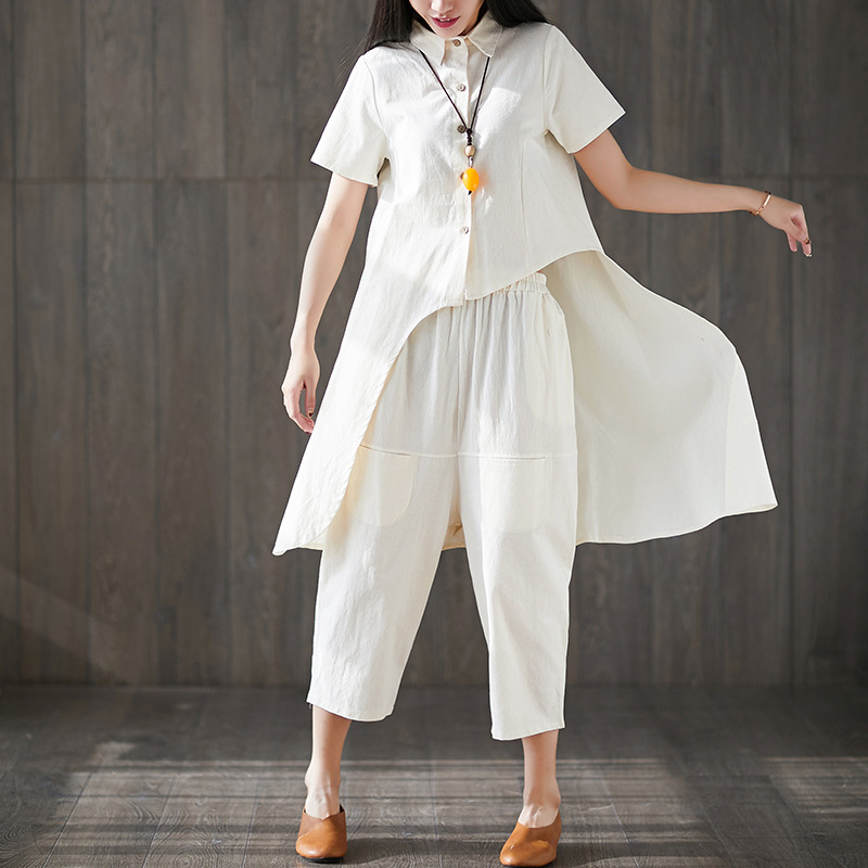Cotton Linen WOMEN'S Suit 2019 Summer New Style Large Size Loose-Fit Irregular Tops + Baggy Pants Trendy Two-Piece Set