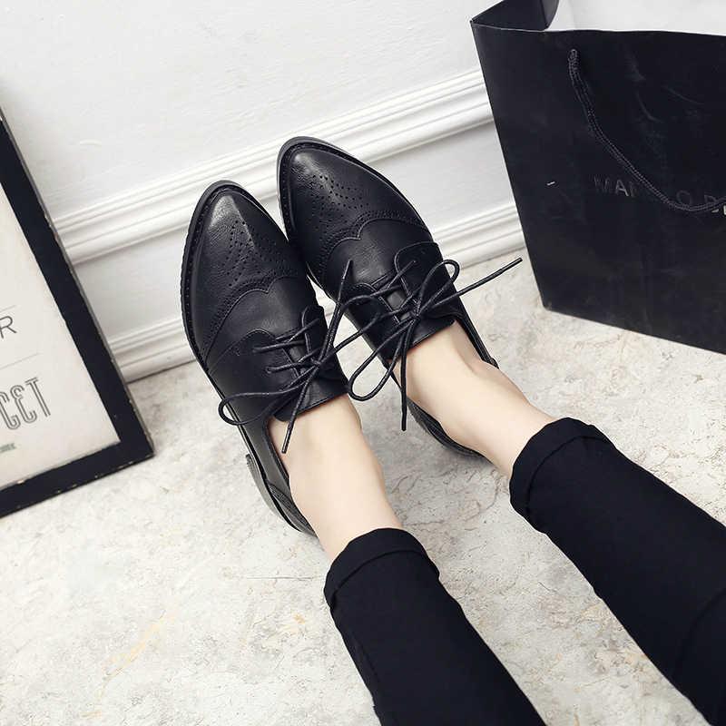 YEELOCA Frauen Brock Schuhe Retro Britischen Wind Spitz Niedrigen Platz Ferse Einzelnen Schuhe Lace-up College Wind Freizeit oxford Schuhe
