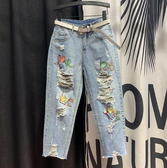 Vaqueros Harlan Jeans Baggy Casual Harem Capri Denim Pants Para Mujer Ropa Reskill Uom Gr