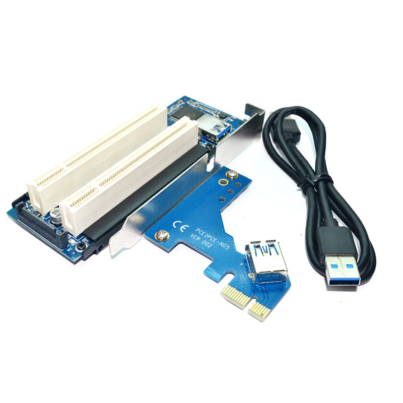 PCI Express X1 to Dual PCI Slots Riser Extend Adapter Card PCI Add On Cards with USB 3.0 Cable for Serial SATA Sound Video Card