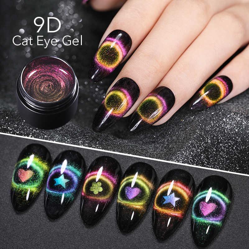 Nicole Diary 9D Galaxy Cat Eye Nail Gel Chameleon Magnetic Rendam Off UV LED Nail Polish 5 Ml Semi permanen Gel Varnish