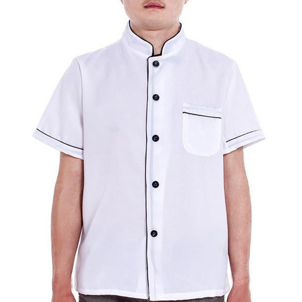 Unisex Short Sleeve Single Breasted Button Down Stripes Chef Jacket Working Coat 649C