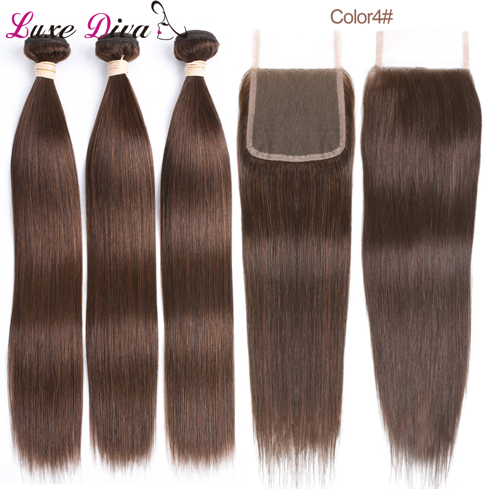 Peruvian Straight Hair Bundles With Lace Closure Luxediva Pre-Colored Remy Hair #2 #4 Brown Color Human Hair Weave Extensions