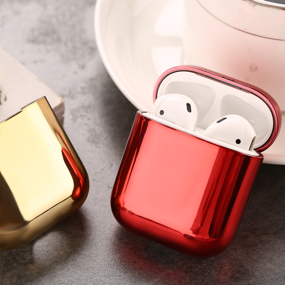 Gold Silver Red Black Earphone Case For Airpods 1 2 Hard Plating Protective Cover Skin  For Airpods 1 2 Charging Box Accessories
