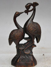 "9"" china fengshui bronze wealth lucky ruyi animal crane bird loves couple statue(China)"