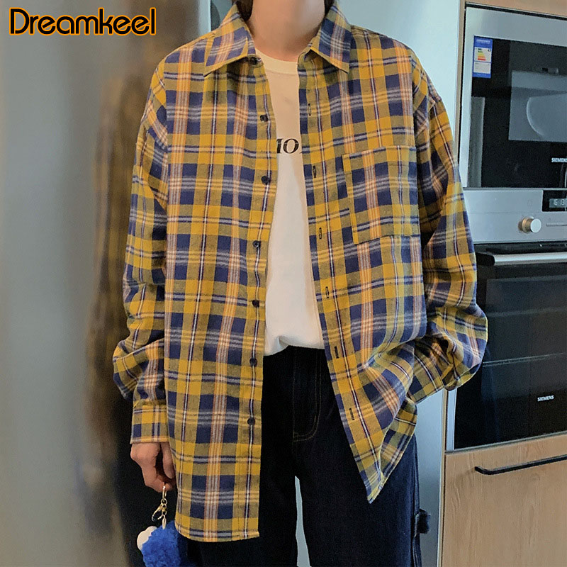 YYear Mens Cotton Vintage Colorblock Button Down Long Sleeve Plaid Check Shirts