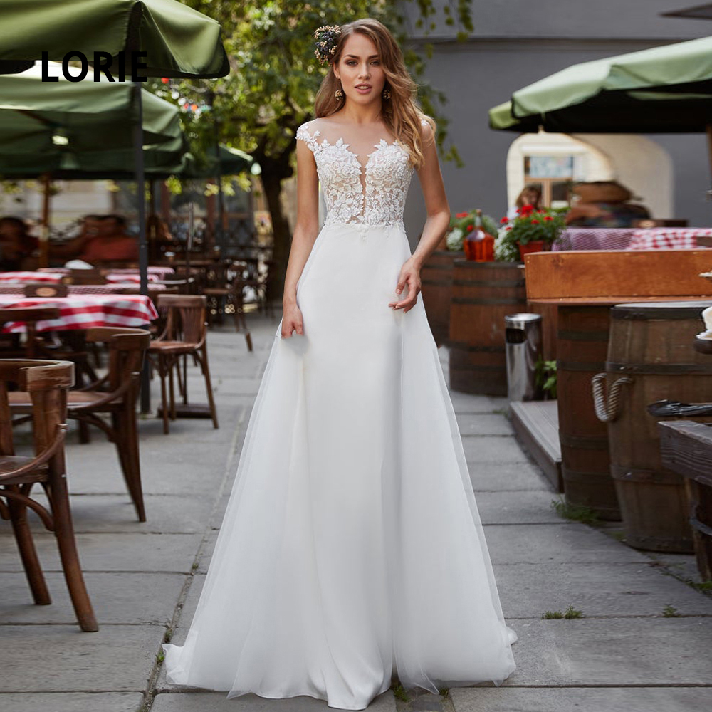 LORIE Elegant Lace Appliqued Wedding Dresses Mermaid 2020 Soft Satin Sleeveless Beach Boho Bride Gowns With Detachable Train