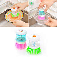 Home Kitchen Cleaning Tools Cleaning Brush Dish Scrubber Brush with Soap Dispenser Cleaning Brush for Dish Pot Pan Random Color|Cleaning Brushes| |  -