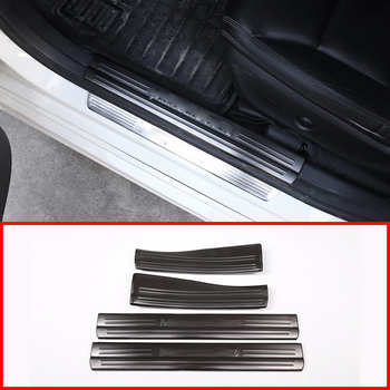 4Pcs Black and Silver Door Sill Protect Plate Trim For Mercedes Benz A B CLA GLA Class W176 W246 W117 C117 X156 Car Accessories