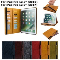 Leather Case Cover For iPad Pro 12.9 2017 2016 Smart Cover Back Protective for ipad 12.9 inch 2016 with Pen Holder