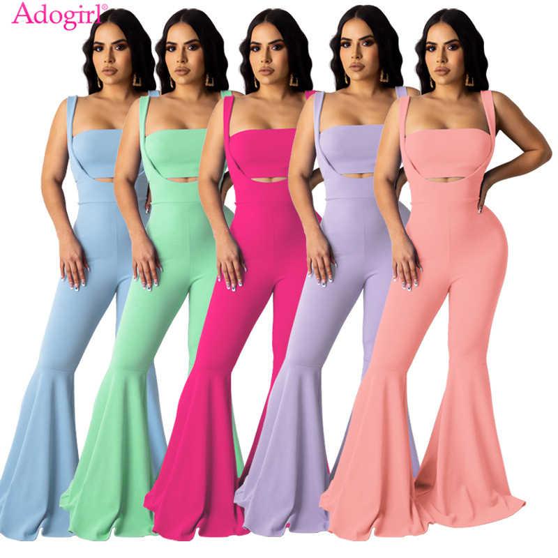 Adogirl 2020 新しい夏の女性ツーピースセットチューブトップスパゲッティストラップフレアジャンプスーツストラップレスのクロップトップ足カットパンツ