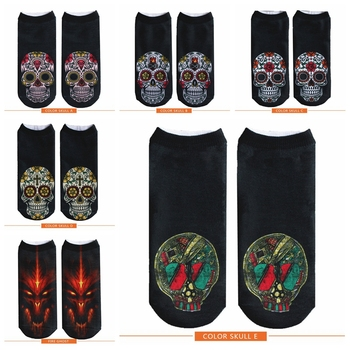 DAY OF THE DEAD Mexican Colorful Sugar Skull Harajuku 3D Printed socks funny unisex fashion personality skull head Short socks day of the dead girl skull head vinyl wall decal sticker