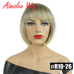 Short Straight Bob Style Wigs with Bangs Brown Black Blonde Highlights 70% Human Hair Blend Synthetic Women Wigs