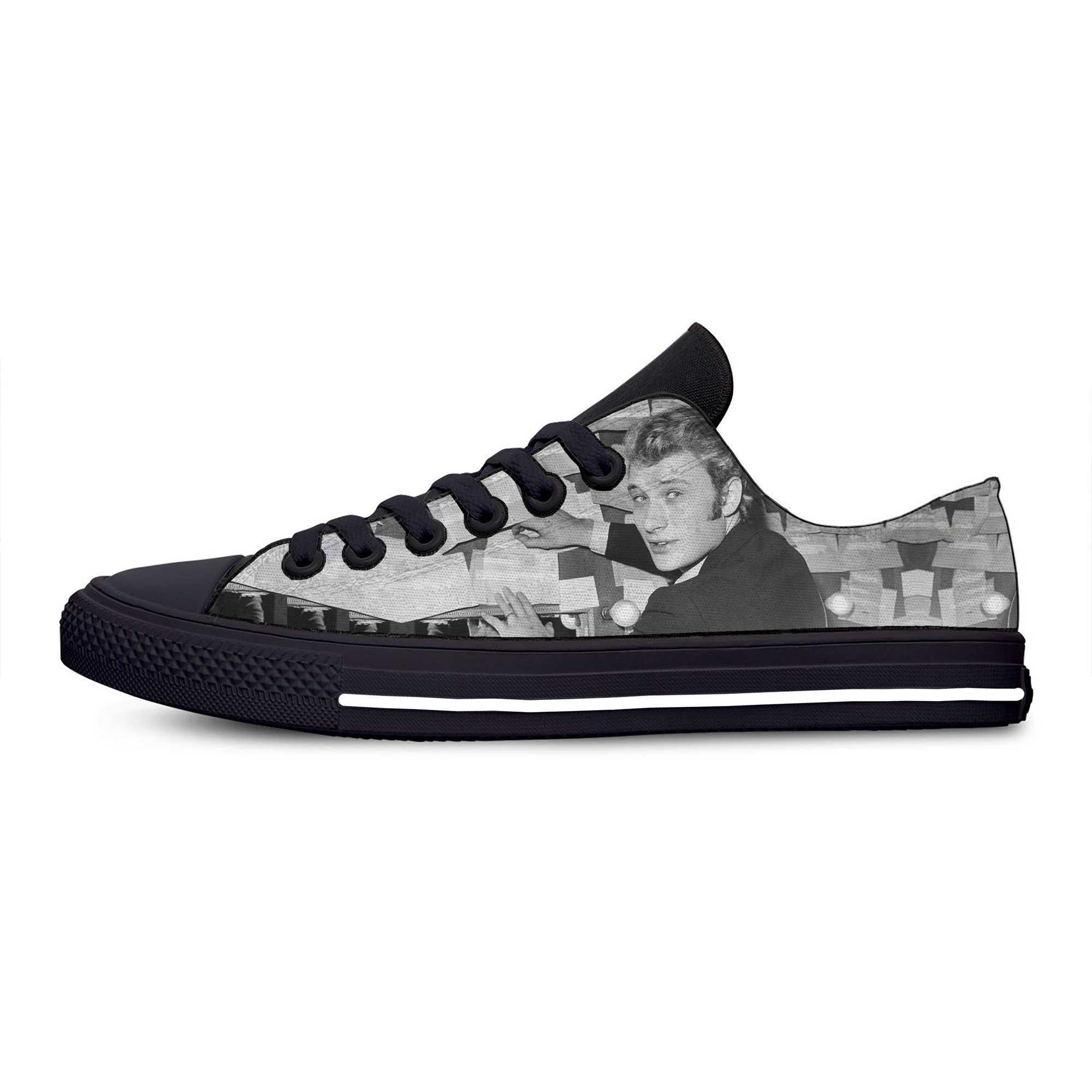 רוק כוכב ג 'וני Hallyday חמה מגניב אופנה באיכות גבוהה מקרית נעלי בד נמוך למעלה לנשימה סניקרס 3D הדפסת עבור גברים נשים