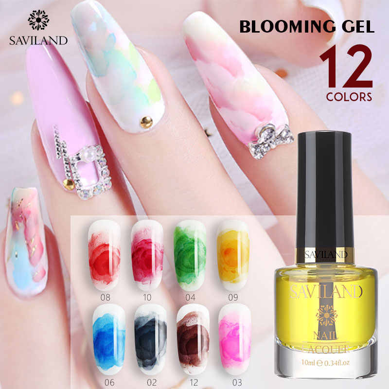 SAVILAND Marmer Aquarel Inkt Nail Gel Wit Clear Bloeiende UV Nail Art Schilderij Bloem Soak Off UV LED Nail Gel polish