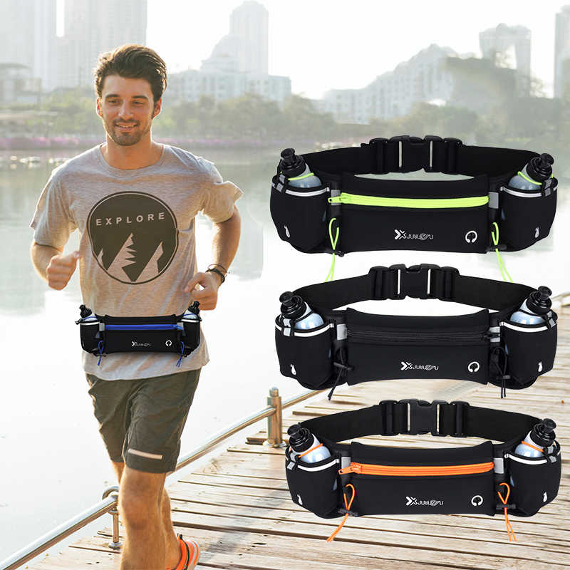 Hombre/mujer maratón Trail Running cintura Pack para teléfono botella de agua deportes riñonera Fitness doble bolsillo correr cinturón bolso de la cintura