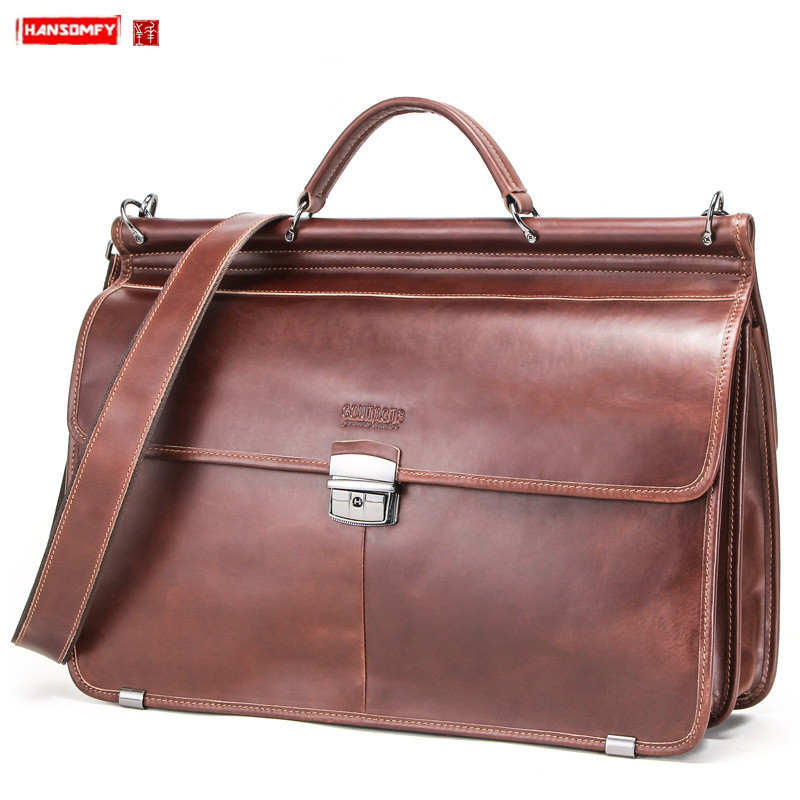 European And American Leather Men's Business Briefcase Large Capacity Men Handbags Lock Laptop Bag Multi-function Travel Bags