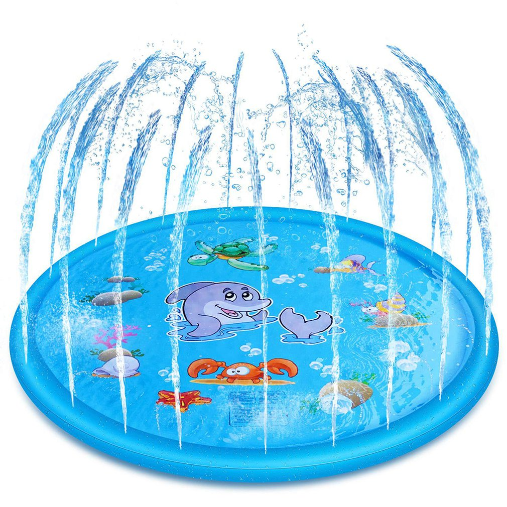 100cm Inflatable Water Spray Kids Sprinkler Play Pad Mat Water Games Beach Mat Outdoor Lawn Beach Sea Swimming Cushion Toys