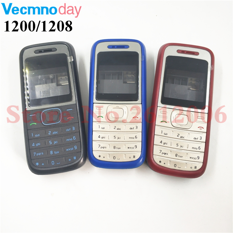 High Quality Original Cover For <font><b>Nokia</b></font> 1200 <font><b>1208</b></font> Full Complete Mobile Phone <font><b>Housing</b></font> Cover Case English Keypad image