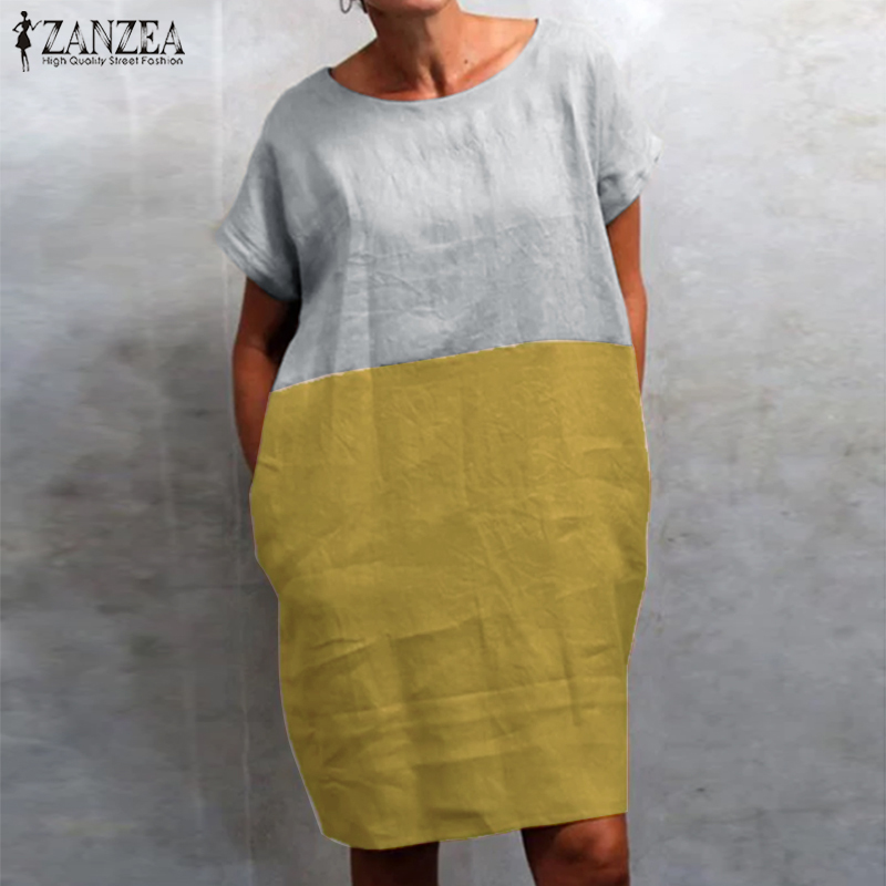 ZANZEA Summer Women Vintage Short Sleeve Cotton Linen Dress Casual O Neck Color Pacthwork SundressKafan Robe Dress Midi Vestido