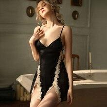 Сексуальная Ночная сорочка на бретелях Женская Весенняя кружевная ночная сорочка с цветочным рисунком разрезом сбоку эмоциональная привлекательная частная ночная рубашка с открытой спиной