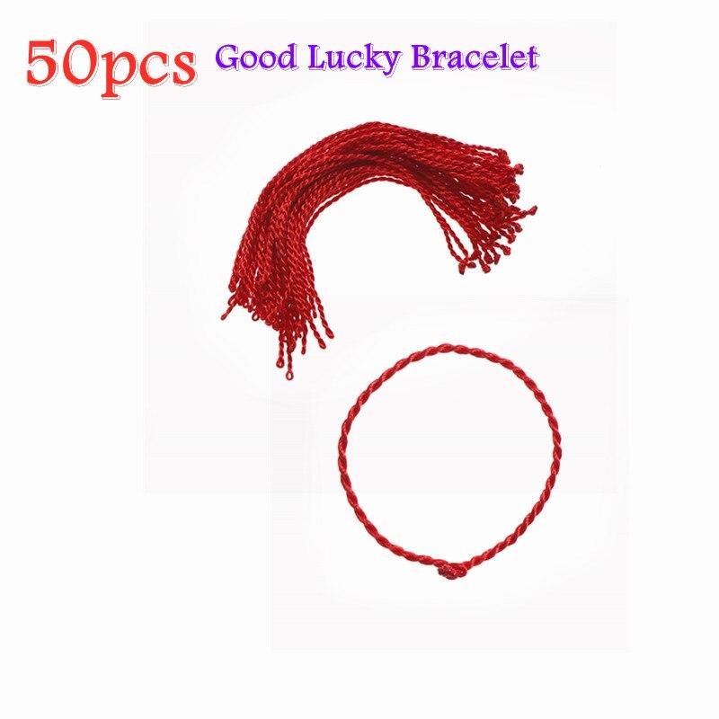 50 шт., красная веревка, браслет на удачу, браслеты, ножные браслеты, ожерелье для женщин, шнур, нитка, линия, сделай сам, ювелирные изделия ручн...
