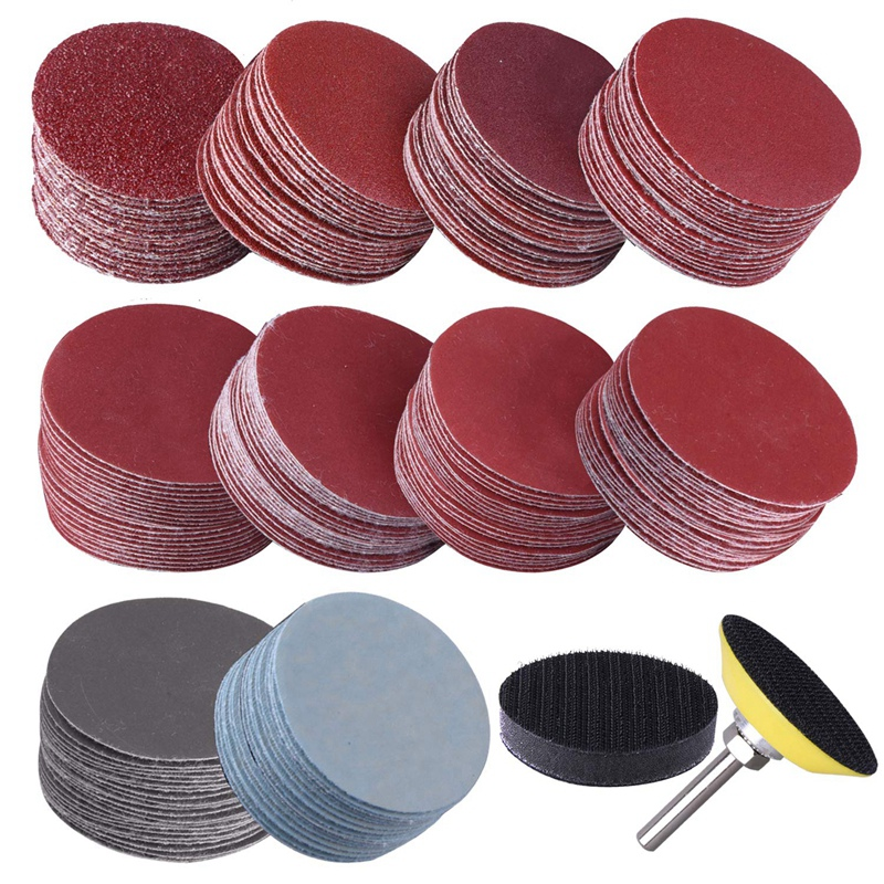 GTBL 200Pcs 50mm 2 Inch Sander Disc Sanding Discs 80-3000 Grit Paper With 1Inch Abrasive Polish Pad Plate + 1/4 Inch Shank For R