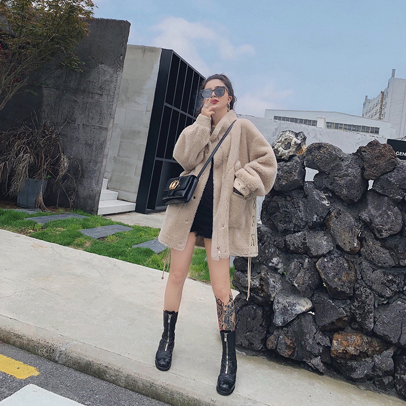 Sheep Real Shearling Fur Coat 2020 Winter Jacket Women 100% Wool Coat Female Leopard Suede Liner Korean Jackets MY3518 S