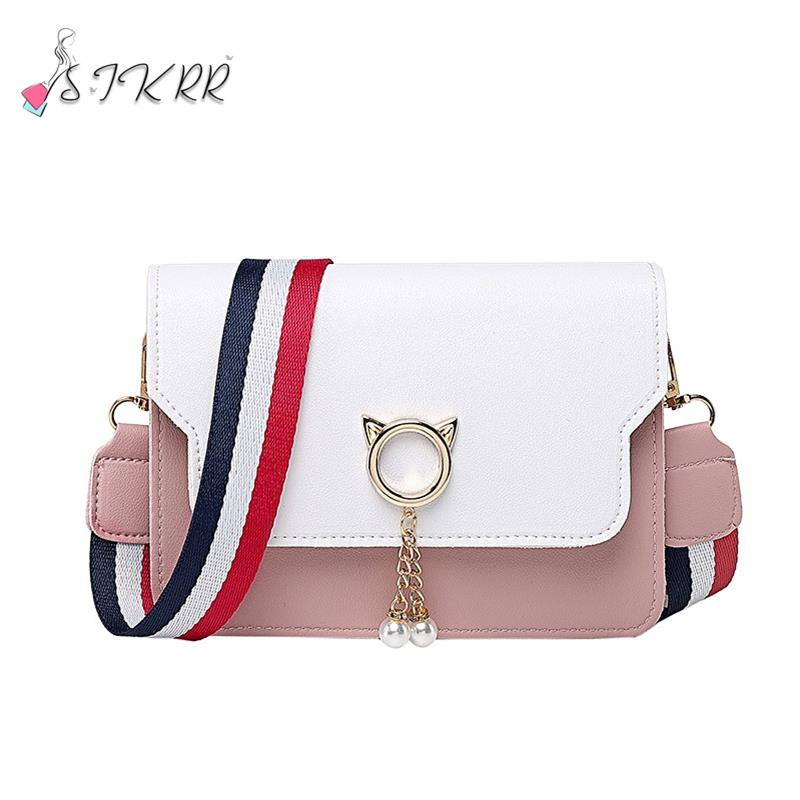 S.IKRR Bag Cute Crossbody Bags For Women 2020 Handbag Leather  Shoulder Messenger Bag Cat Wide Strap Small Purses Bolsos Mujer