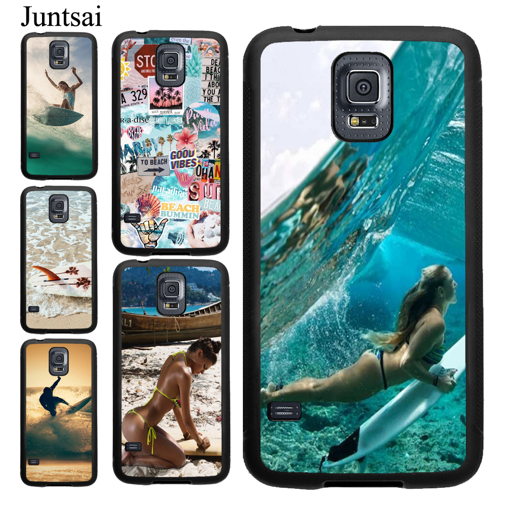Juntsai Beach Surf <font><b>Board</b></font> Ocean Waves Case For Samsung Galaxy A50 A30 A70 A40 <font><b>Note</b></font> 10 9 <font><b>8</b></font> S6 S7 Edge S8 S9 S10 Plus S10e image