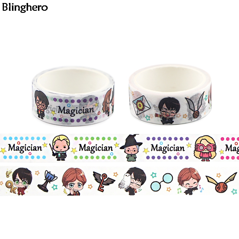 Blinghero Magician Washi Tape 15mmX5m Cool Washi Paper Tape Cartoon Masking Tape Adhesive Tapes Stickers Stationery Tape BH0481