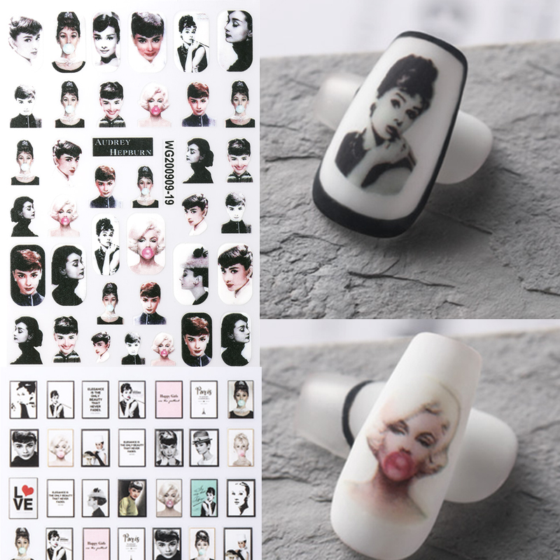 1pc Abstract Women Face Nail Art Stickers 3D Nail Sticker Decals Nail Tips Decorations