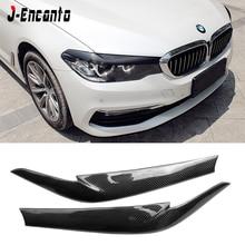 цена на Real Carbon Fiber Car Front Headlight EyeLids Eyebrows Cover For BMW 5 series G30 G38 2017-2019 Head Lamp Cover Caps Eye Lid