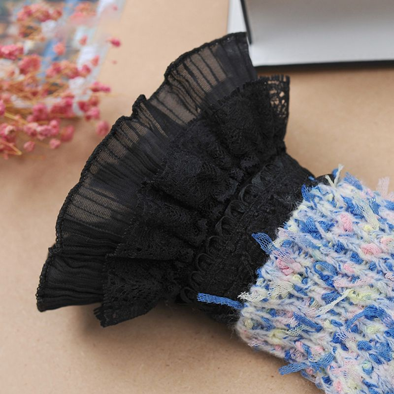 1Pair Women Multi Layer Ruffles Lace Patchwork Fake Cuffs Black Detachable Sleeve Sweater Decorative