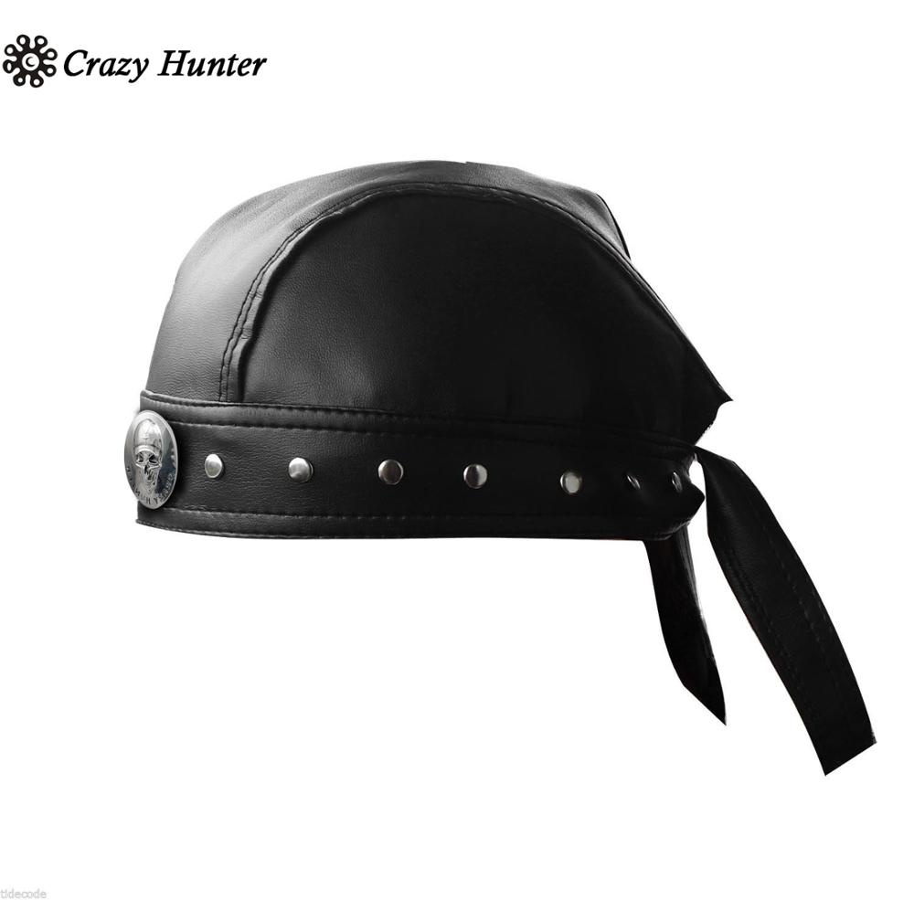 Image 2 - Leather Bandana Biker Doo Do Rag Headwrap Motorcycle Mens Skull Cap Capsmith Du RagMens Sun Hats   -