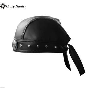 Image 2 - Leather Bandana Biker Doo Do Rag Headwrap Motorcycle Mens Skull Cap Capsmith Du Rag