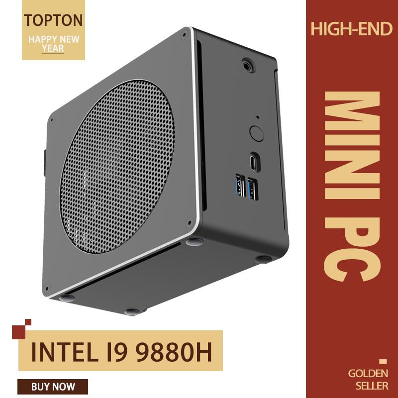 11.11New Mini PC Intel Core I9 9880H 8 Cores 16 Threads Gaming Desktop Computer 2*DDR4 2*M.2 NVMe Win10 Pro 4K HTPC HDMI Mini DP