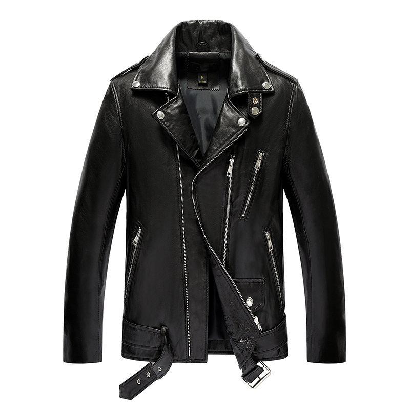 Genuine Leather Jacket Men Real Sheepskin Leather Bomber Jackets Spring Autumn Motocycle Plus Size Coat 19-811 MF620