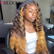 28in Ombre Honey Blonde Deep Wave Lace Front Human Hair Wigs Transparent Pre plucked Bleached Knots Wigs for Women Brazilian