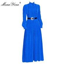 MoaaYina Fashion designerska sukienka wiosna jesień damska sukienka z długim rękawem Ruched Ruffles wąskie sukienki