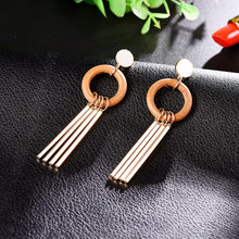 NJ Elegant Tassel Long Drop Earrings For Woman Green Orange Christmas Present Jewelry Party Weddings Pendant Earrings Wholesale(China)