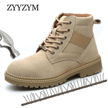 ZYYZYM Men Work Safety Boots Outdoor Steel Toe Autumn High Top Shoes Men Puncture Proof Protective Man Safety Boots Footwear safety shoes men work steel toe breathable boots men s fashion casual safety shoe boots puncture proof protective footwear