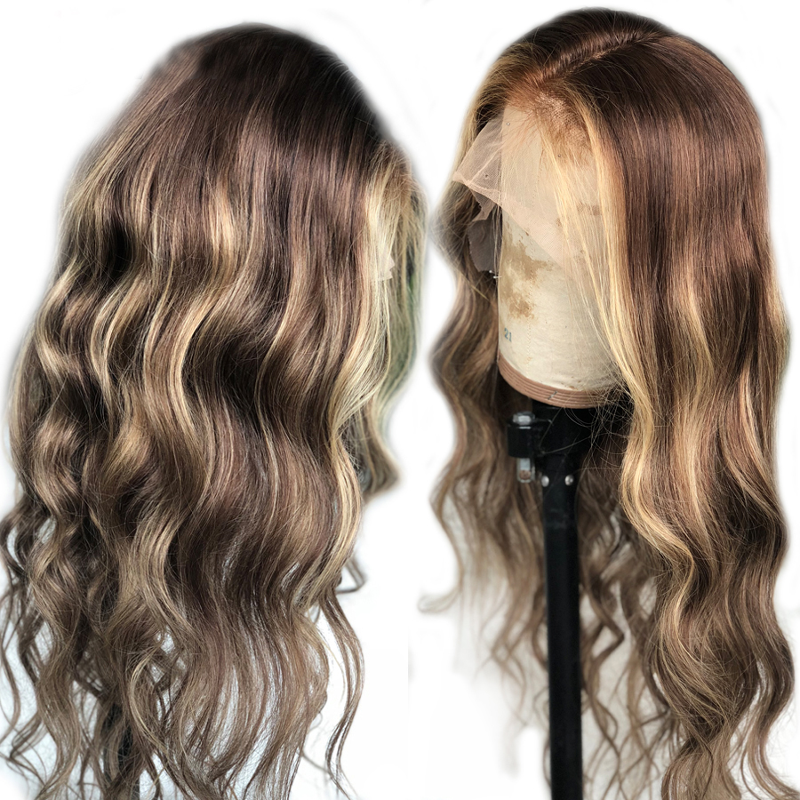 Eversilky Loose Wave Highlight Ombre Brown 13x4 Lace Front Human Hair Wigs Brazilian Remy Pre Plucked With Baby Hair For Women