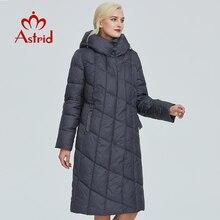 Astrid зимняя женская куртка с ромбовидным узором и шапкой, Плотная хлопковая одежда, длинная и теплая Женская парка, AR-9212