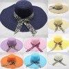 Summer Straw Hat Big Wide Brim Beach Hat Foldable Sun Block Uv Protection  1